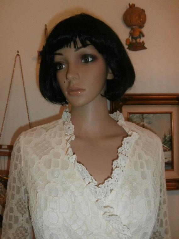 Womens   Cream Lace Dress  Long Sleeve, Lined~  M… - image 4