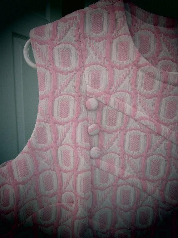 Women's  70's Mod Dress Pink & White Textured  ~ S