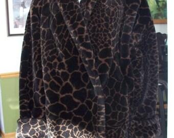 Winter Coat 80's Donnybrook Black LEPOARD FAUX Fur Animal print Tulip Hem jacket  WOW!!!