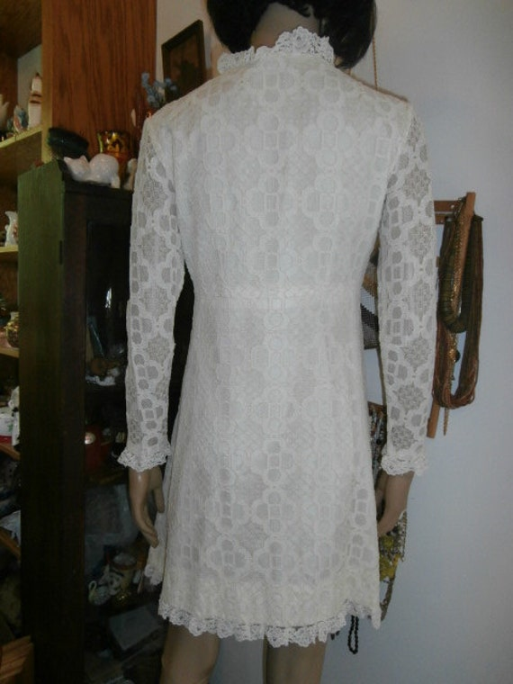 Womens   Cream Lace Dress  Long Sleeve, Lined~  M… - image 3