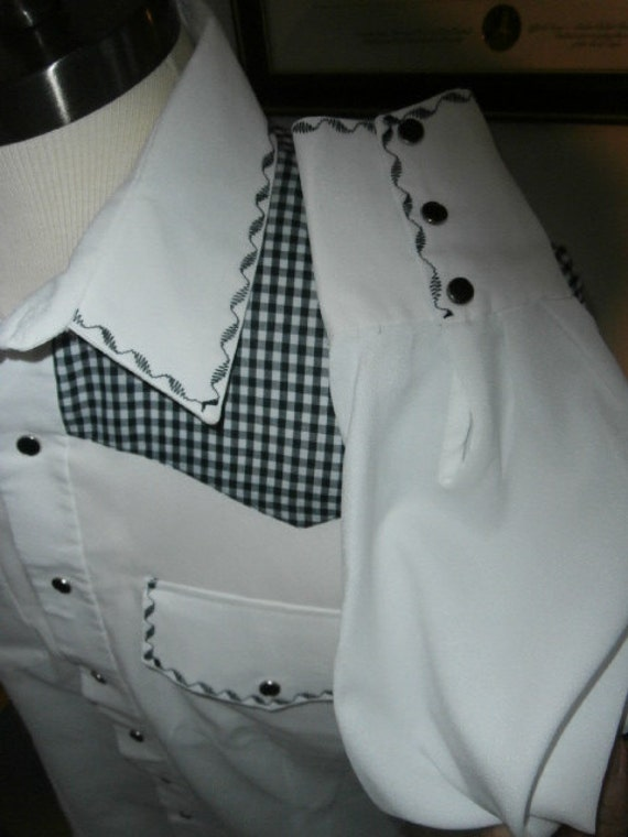 Mens Shirt  Hounds-tooth  Western Style Shirt Long