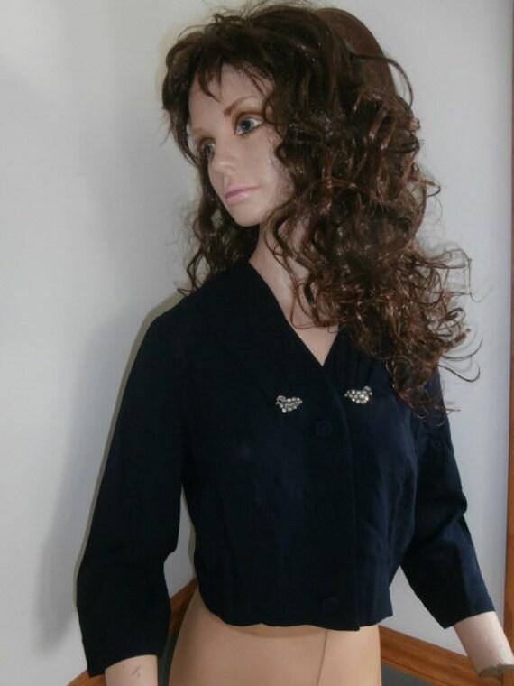 Womens Blouse/Jacket:Vintage  Bolero Crop Jacket B