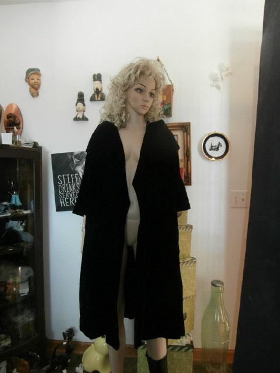 Black Velvet Swing Coat-Womens Vintage Formal Dres
