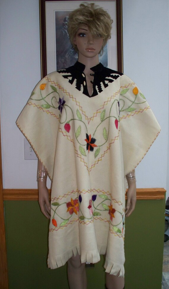 Poncho:  Embroidered Handmade Poncho Cape /Jacket