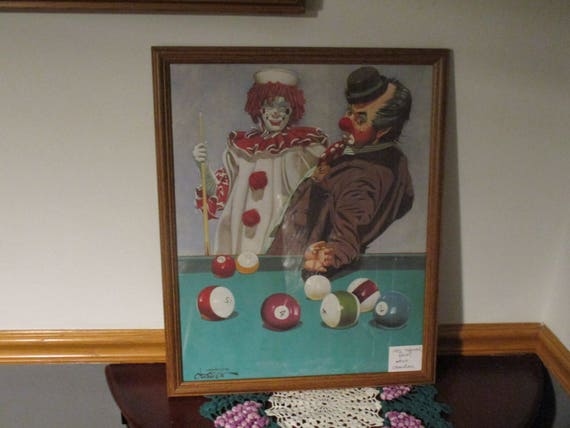 Ballard Pool Table Playing Clowns Chuck Oberstein Clown Print Etsy - Ballard pool table