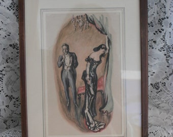 Vintage Framed Print of Dramatic Scene ~Antique matted Wall Hanging