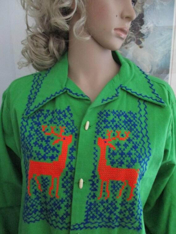 Womens Shirt/Jacket: Green Long Sleeve Vintage  E… - image 1