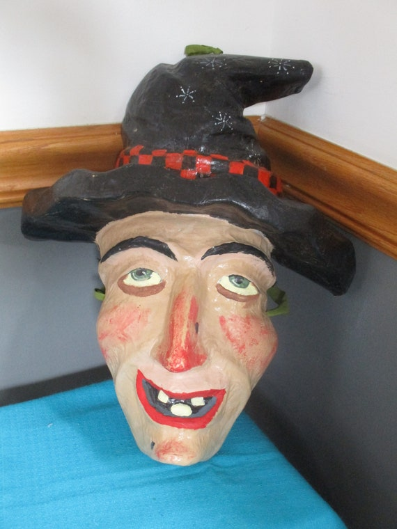 Halloween Witch Paper Mache Mask Vintage Halloween