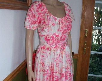 Womens  Dress- White & Pink-Floral Peasant  Dress~ Short Sleeves- Womens Vintage Day Dress Casual