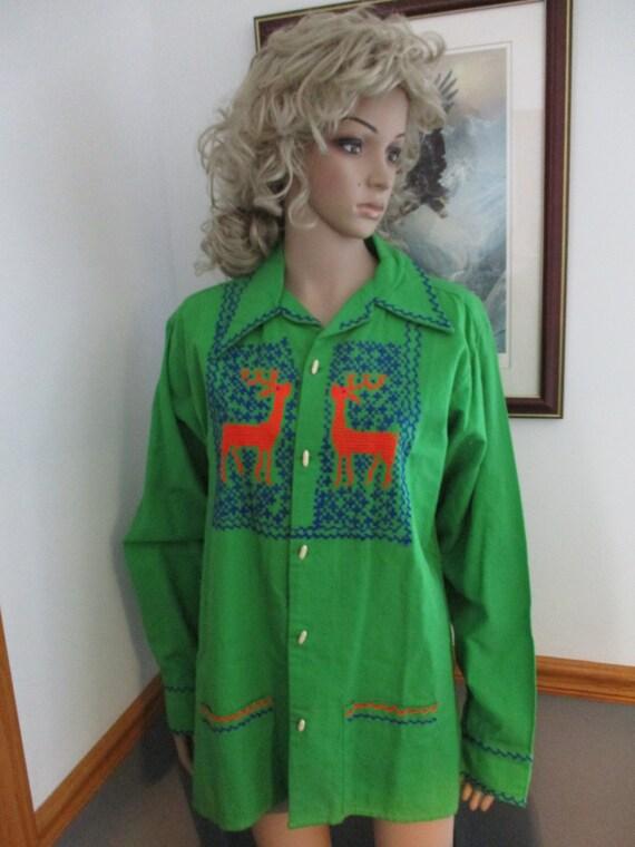 Womens Shirt/Jacket: Green Long Sleeve Vintage  E… - image 5