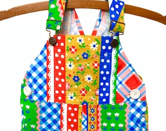 Overalls / Handmade / Pants / Coveralls / Dungarees -  Rainbow Patch Overalls