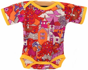 Vintage, handmade, best baby gifts, baby shower gifts, coulds, village, pink, retro baby clothes, cool baby clothes - Sunset Village