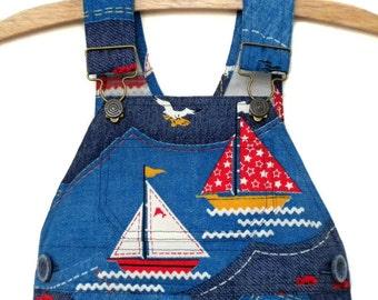 Vintage Overalls / Handmade / Pants / Coveralls / Dungarees - Sail Away Overalls