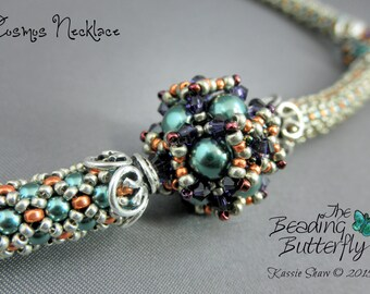 Cosmos Beaded Bead Necklace Tutorial - Netted Rope and Right Angle Weave Beading Pattern