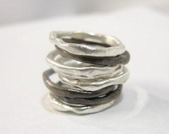 Organic Shape Pure Silver Bands Set of 3