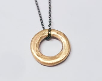 14k Gold Circle Pendant on an Oxidized Sterling Silver Chain