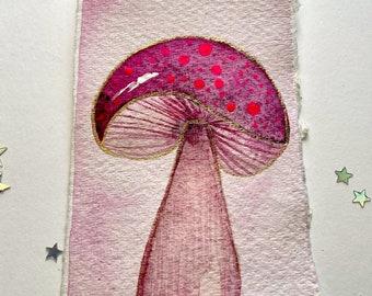 Hand Painted Original Mushroom Bookmark. Watercolour Woodland Bookmark Christmas Gift