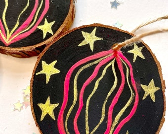Small Christmas Vulva Wooden Tree Ornament-Pink and Gold Hand Painted with Stars