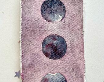 Hand Painted Original Bookmark. Watercolour Moon Phases Lunar  Bookmark