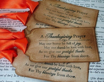20 Thanksgiving Prayer Tags-Handmade Vintage Style Gift Tags/Labels Table Settings Favor Tags