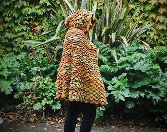 Dragon Scale Cloak, one of a kind, handmade, crochet, unique, woodland fairy, green and brown