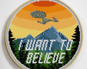 I Want To Believe, Discovery, Star Trek, Cross Stitch, Counted, Chart, Pattern, X Files, pdf download, beginners cross stitch