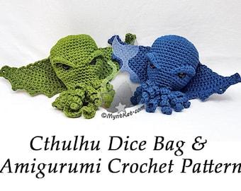 Cthulhu Dice Drawstring Bag or Amigurumi