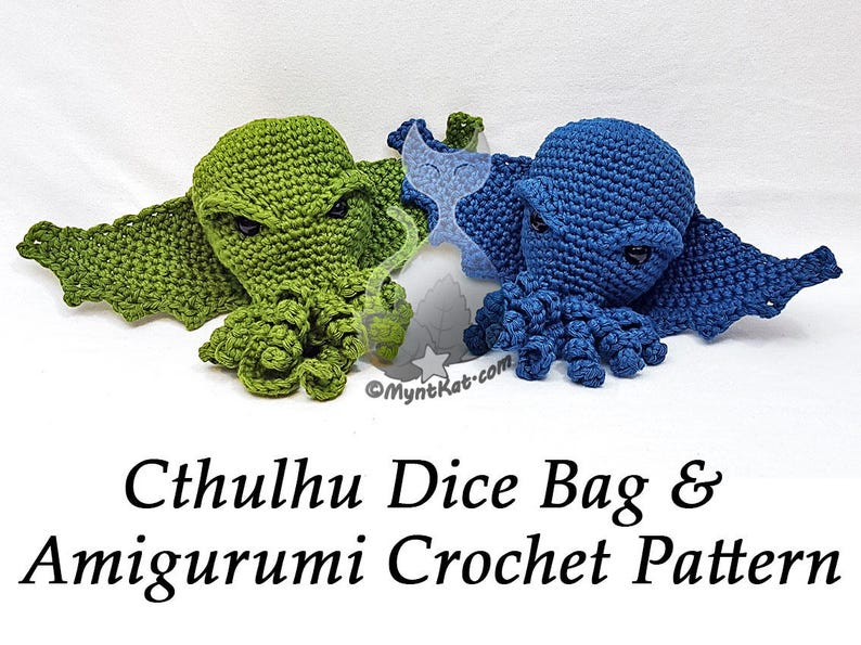 Cthulhu Dice Drawstring Bag or Amigurumi image 0