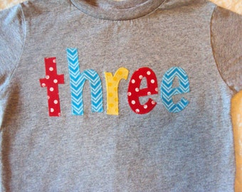 Boys Birthday Shirt Three Year Old Two Primary Colors 3