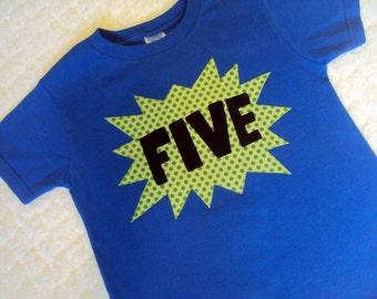 5 Year Old Birthday Shirt SuperHero Four 6 Comic Boys