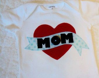 Boys Valentine Shirt- I Love MOM Shirt - Valentines Day Shirt - I Heart Mom Shirt- Baby Boy Valentines Shirt