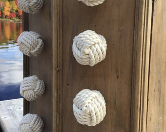 4 Rope Knobs, 4 Cotton Drawer Pulls, Knot Drawer Pulls, Cream Drawer Pulls, Rope Knobs, Nautical Decor, Nautical Nursery, Nautical Bathroom