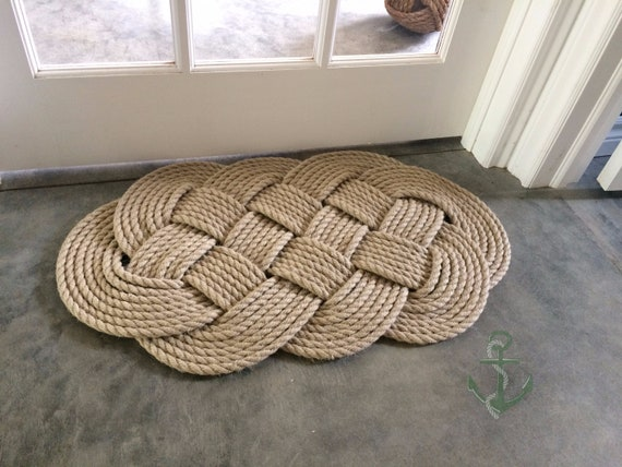 Pure Hemp Rope Rug Nautical Rope Mat 30 By 19 Inches Made Etsy