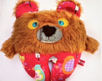 Pumpkin The Bear - Plush Pillow Softie,Teddy Bear,Gift for Her,Gift for Girl, Soft Teddy,Forest Animals,Fabric Teddy Bear,Fabric Teddy