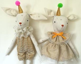 Deer -Heirloom Doll,Deer Doll,Fabric Deer,Cloth Doll,Rag Doll,Soft Doll,Woodland Animal,Nursery Room,Fawn Doll,Fantasy Doll,Circus Doll,Gold