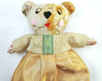 Livy -Teddy Bear Doll,Soft Doll,Plush Teddy,Forest Animal,Rag Doll,Textile Doll,Gift for Her Girl,Nursery Decor, Baby Shower Gift,Sweet Doll
