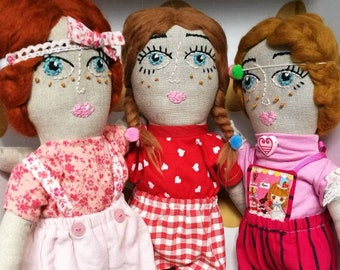 Honey and Luna the mouse - Handmade Doll,Cloth Doll,Rag Doll,Soft Doll,Girl,Friendship,Fashion Doll,Pocket Pet,Mouse,Cute Doll,Baby Gift