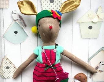 Willow the Deer Heirloom Doll,Deer Doll Fabric Deer,Cloth Doll,Rag Doll,Soft Doll,Forest Animal,Nursery Room,Fawn Doll,Fairy Doll,Elf Doll