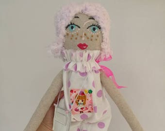 Meli Doll -Handmade Doll,Cloth Doll,Rag Doll,Soft Doll,Girl,Gift for Girl,Fashion Doll,Cute Gift, Girl Room Decor,Baby Gift,Heirloom Doll