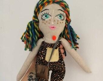 Meli- Handmade Doll,Girls Room Decor,Baby Girl Gift,Heirloom Doll,Soft Doll,Cloth Doll,Cute Gift,Textile Doll,