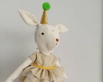 Oh Deer -Heirloom Doll,Deer Doll,Fabric Deer,Cloth Doll,Rag Doll,Soft Doll,Woodland Animal,Nursery Room,Fawn Doll,Fantasy Doll,Princess Doll