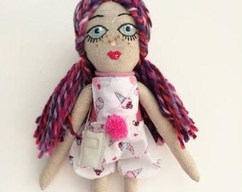 Meli Handmade Doll,Cute Doll, Cloth Doll,Rag Doll,Soft Doll,Ice Cream lover, Vintage Girl,Interior Doll,Textile Doll,Perfect gift for girl