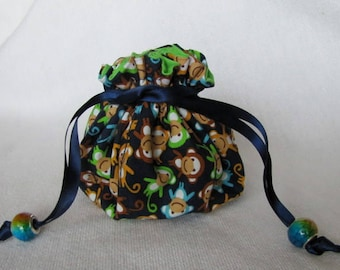 Jewelry Bag - Medium Size - Treasure Tote - Toy Pouch - BARREL OF MONKEYS
