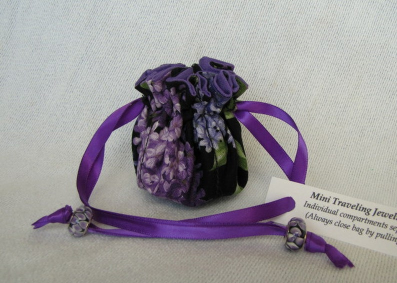 Fabric Jewelry Pouch Jewelry Bag Traveling Jewelry Bag Mini Size LILACS at NIGHT