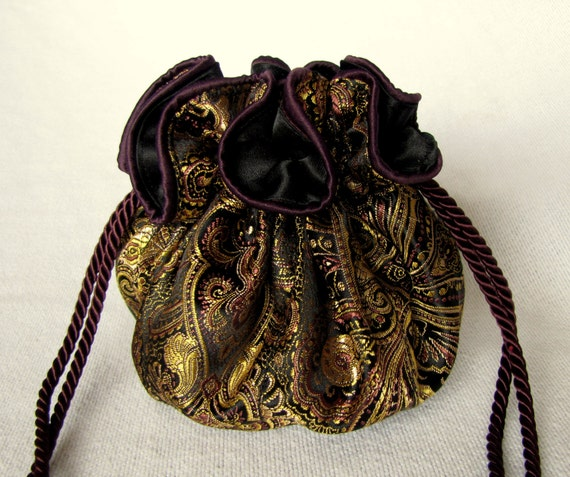 Luxury Size AZTEC GOLD Pouch Brocade Jewelry Tote
