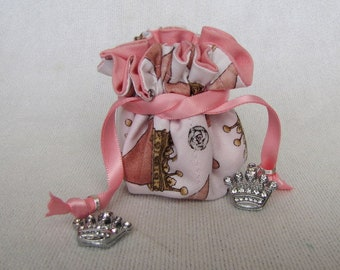 Jewelry Bag - Mini Size - Drawstring Tote - Pouch - Jewelry Bag - PRINCESS TOES