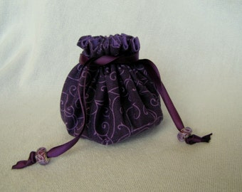 Drawstring Jewelry Pouch - Medium Size - Jewelry Tote - Travel Bag - PURPLE POP