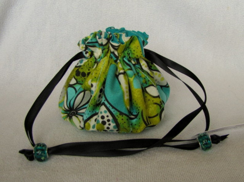 Medium Size Fabric Pouch Bag for Jewelry SAND DUNE LAGOON Drawstring Jewelry Tote