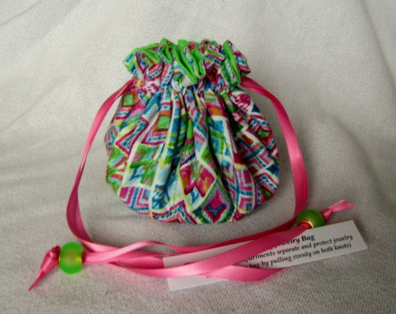 FRO YO Jewelry Bag with Painted Ceramic Beads on the Drawstrings Medium Size
