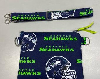 """Seattle Seahawks 4.5"""" x 6.5"""" cross body purse handmade"""